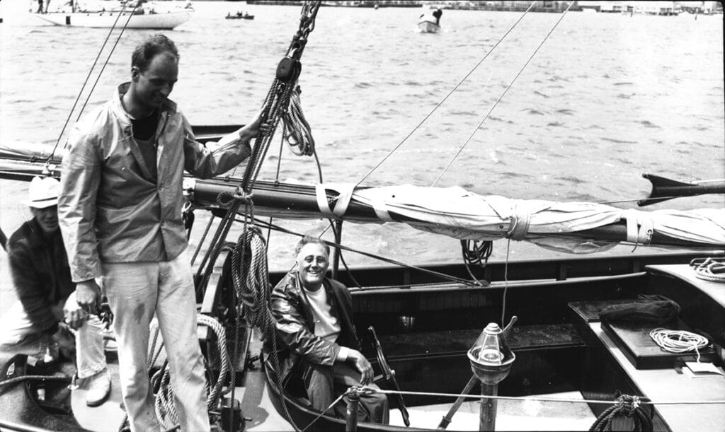Franklin Roosevelt aboard his yacht Amberjack II, anchored in Nantucket Harbor in June of 1933. photo courtesy NHA